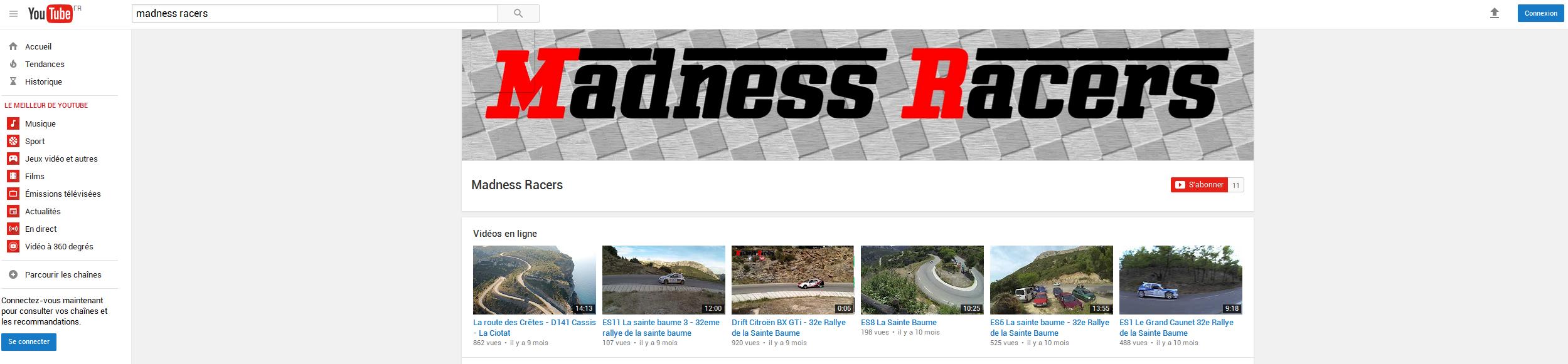 Bannière lien vers la chaine youtube Madness racers blog sport auto mobile phots et videos rallye