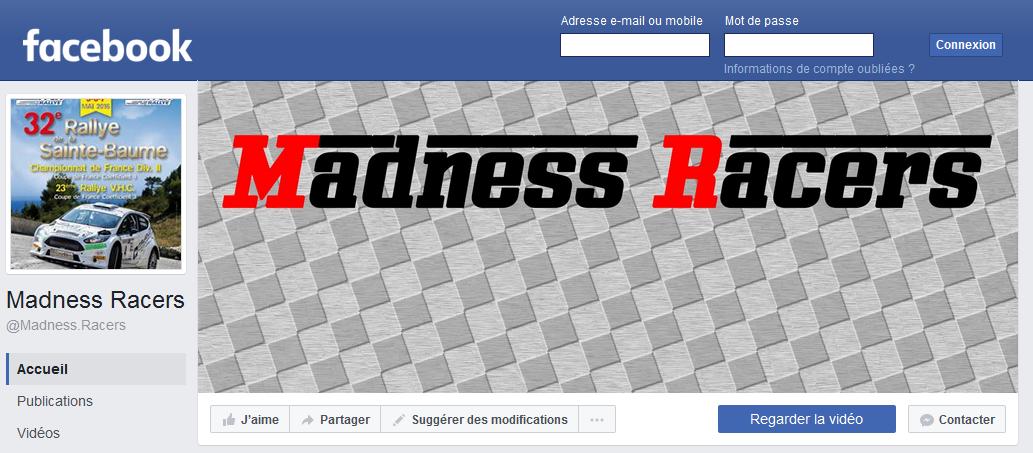 Bannière lien vers facebook Madness racers blog sports automobiles